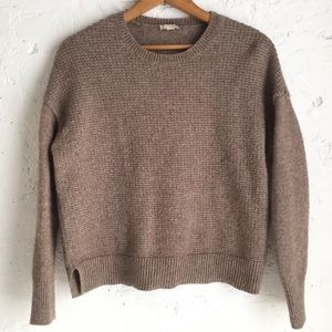 Gap brown waffle knit crew neck sweater size small